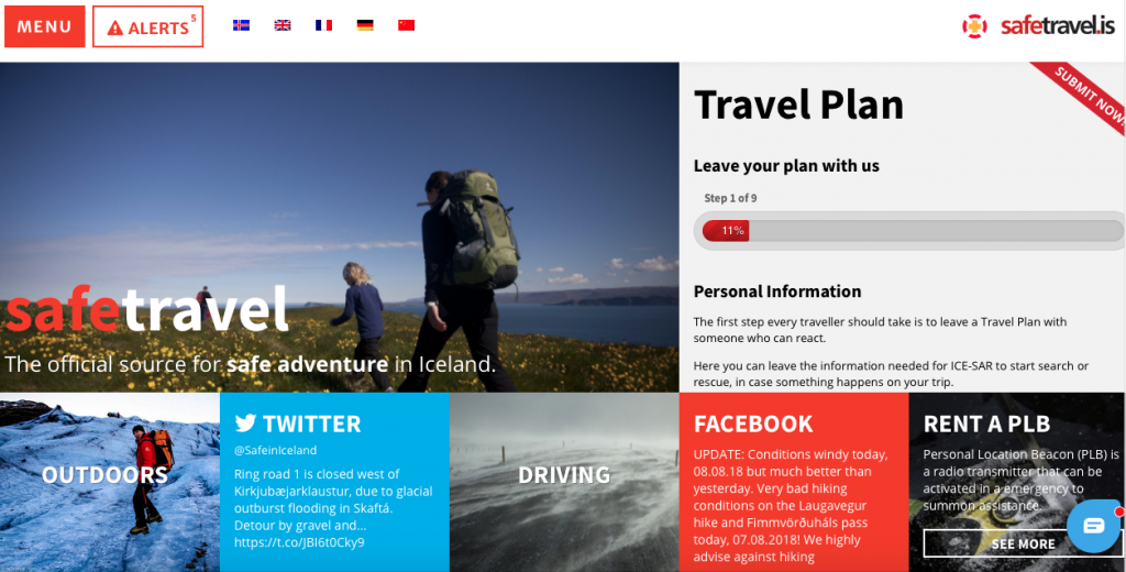 Safe travel website example
